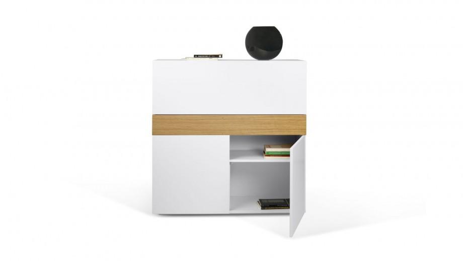 Secrétaire 2 portes en contreplaqué blanc - Collection Focus - Temahome