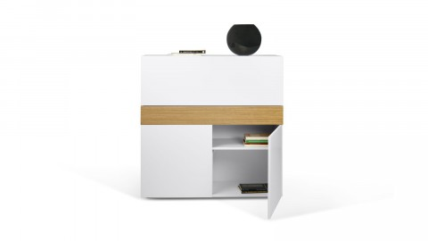 Secrétaire 2 portes en bois blanc - Collection Focus - Temahome