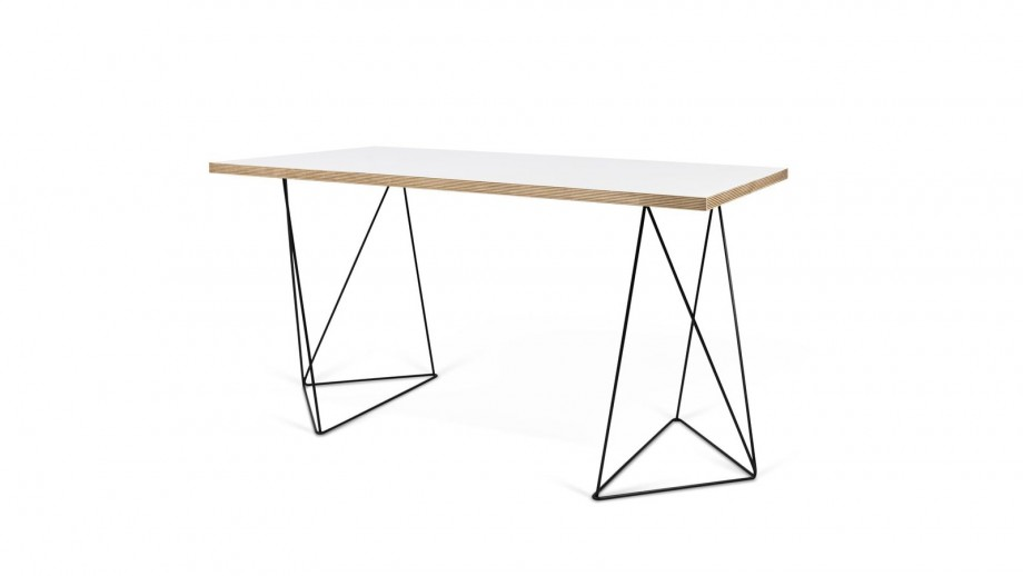 Bureau en contreplaqué blanc piètement polygonal en métal noir - Collection Flow - Temahome