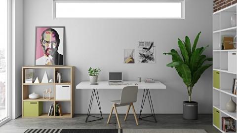 Bureau en contreplaqué blanc piètement polygonal en métal noir - Collection Flow - Temahome