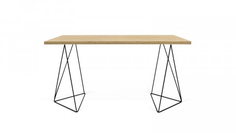 Bureau en bois naturel piètement polygonal en métal noir - Collection Flow - Temahome