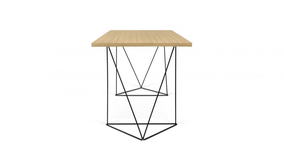 Bureau en contreplaqué naturel piètement polygonal en métal noir - Collection Flow - Temahome