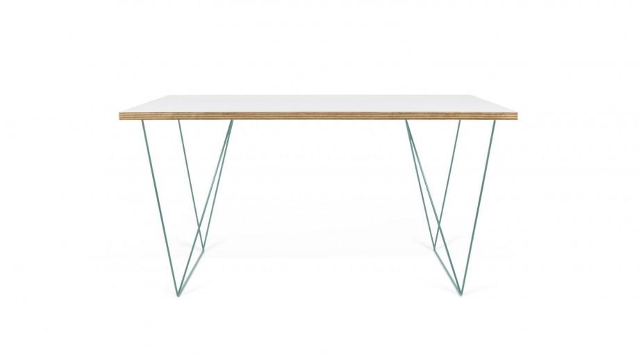 Bureau en contreplaqué blanc piètement en métal vert - Collection Flow - Temahome