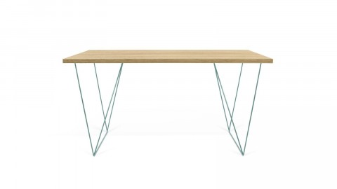 Bureau en bois naturel piètement en métal vert - Collection Flow - Temahome