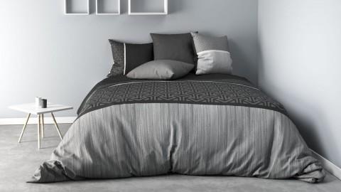 Parure de housse de couette réversible 100% coton percale noir et blanc + taies