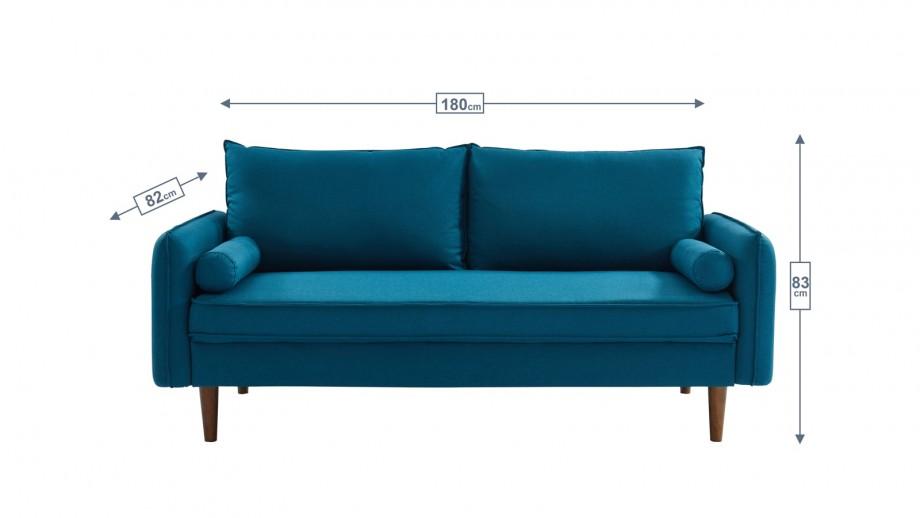 Canapé 3 places en tissu bleu - Collection Joy
