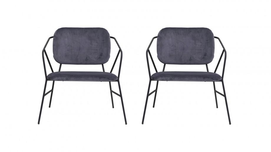 Lot de 2 chaises en tissu gris piètement métal - Collection Klever - House Doctor