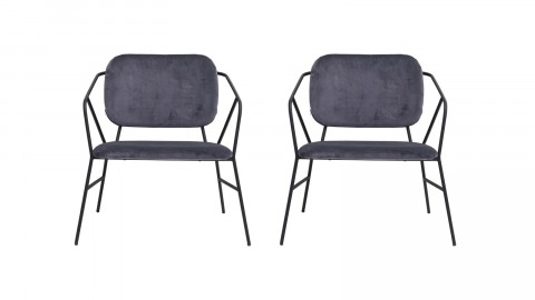 Lot de 2 chaises en tissu gris piètement métal - Collection Klever - House Doctor