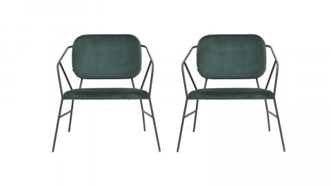 Lot de 2 chaises en velours vert piètement métal - Collection Klever - House Doctor