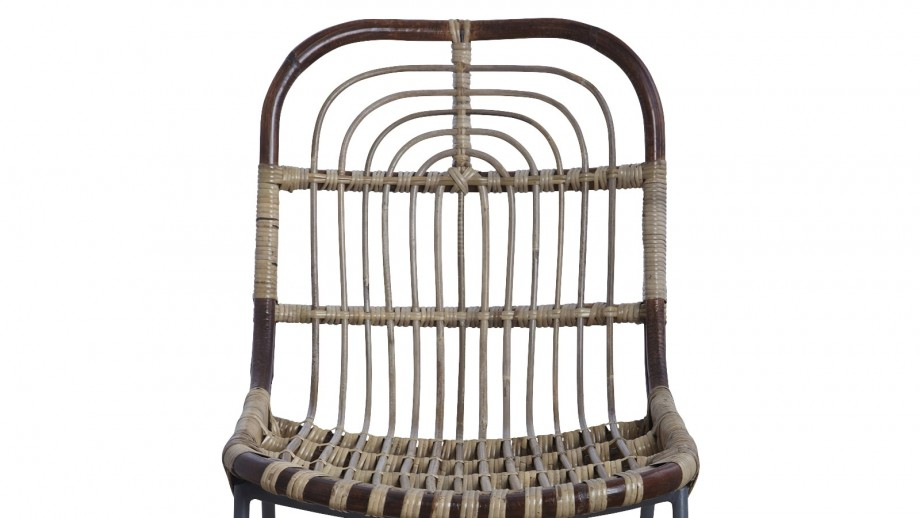 Lot de 2 chaises en rotin piètement métal - Collection Kawa - House Doctor