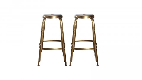 Lot de 2 tabourets en métal doré - Collection Define - House Doctor