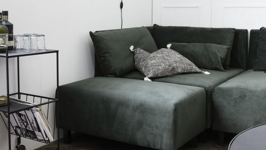 Pouf en tissu vert piètement en métal - House Doctor