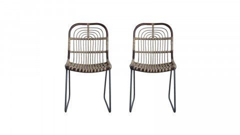 Lot de 2 chaises en rotin piètement métal - Collection Kawa - House Doctor
