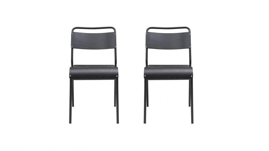 Lot de 2 chaises style écolier en bois noir et métal - Collection Original - House Doctor