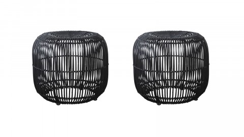 Lot de 2 tabourets en rotin noir - Collection Modern - House Doctor