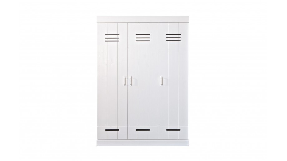 Armoire 3 portes 3 tiroirs en pin blanc - Collection Conne