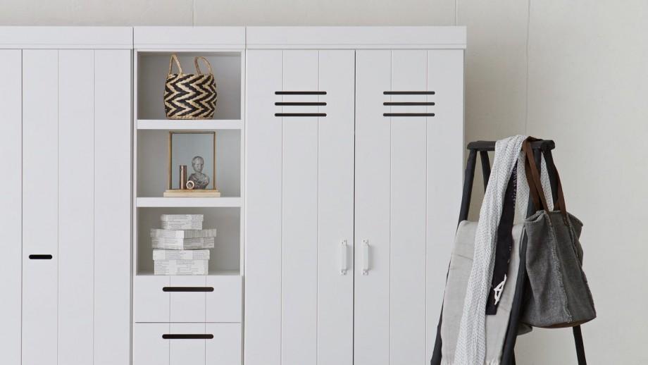Etagère 3 niches 4 tiroirs en pin blanc - Collection Connect - Woood