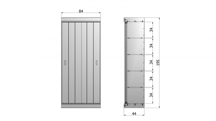 Armoire 2 portes en pin blanc - Collection Row - Woood