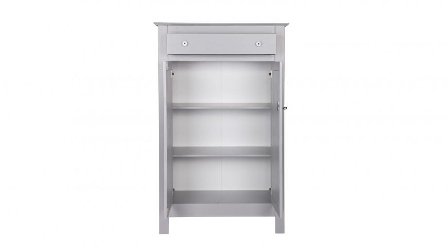 Petite armoire en pin massif gris béton - Collection Eva - Woood