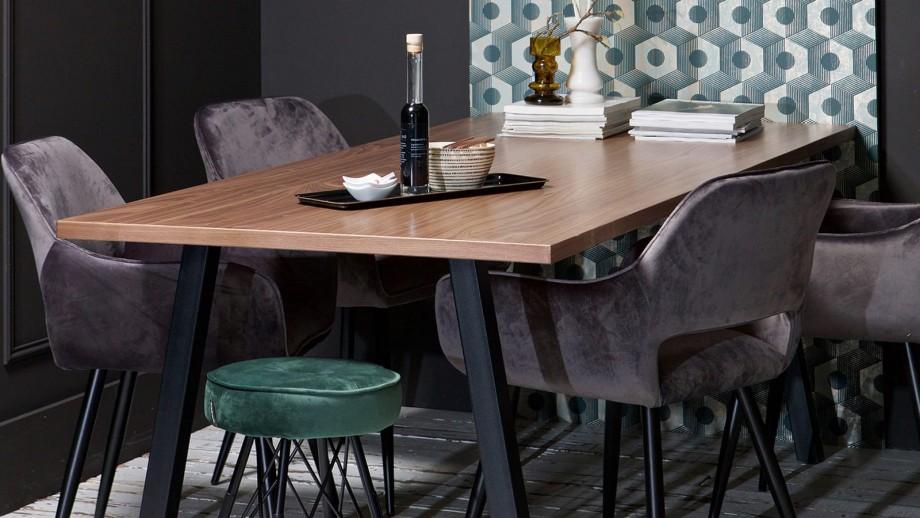 Table à manger 200cm en bois piètement en métal noir - Collection James - Woood