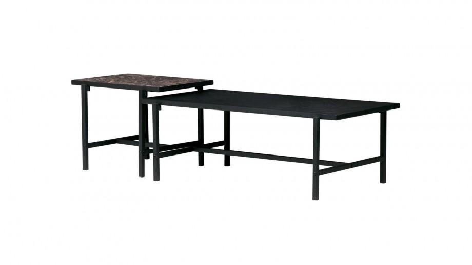 Table d'appoint plateau réversible noir piètement en métal - Collection Turn - Woood