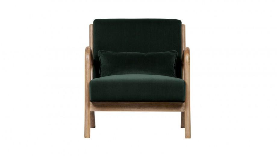 Fauteuil en bois et velours vert - Collection Mark - Woood