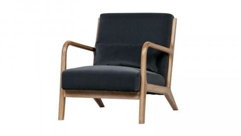 Fauteuil en bois et velours anthracite - Collection Mark - Woood