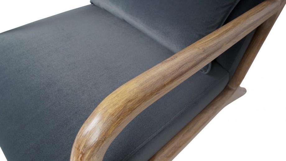 Fauteuil en bois et velours anthracite - Collection Mark - Woood