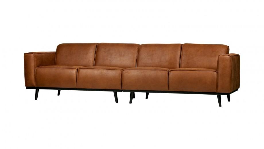 Canapé 280cm en eco cuir cognac - Collection Statement - BePureHome
