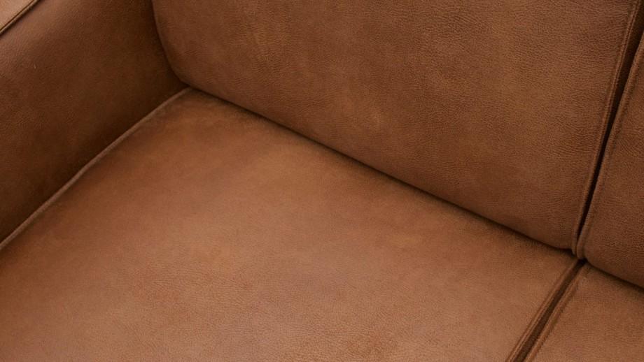 Canapé d'angle droit en eco cuir cognac - Collection Statement - BePureHome