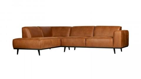 Canapé d'angle gauche en eco cuir cognac - Collection Statement - BePureHome