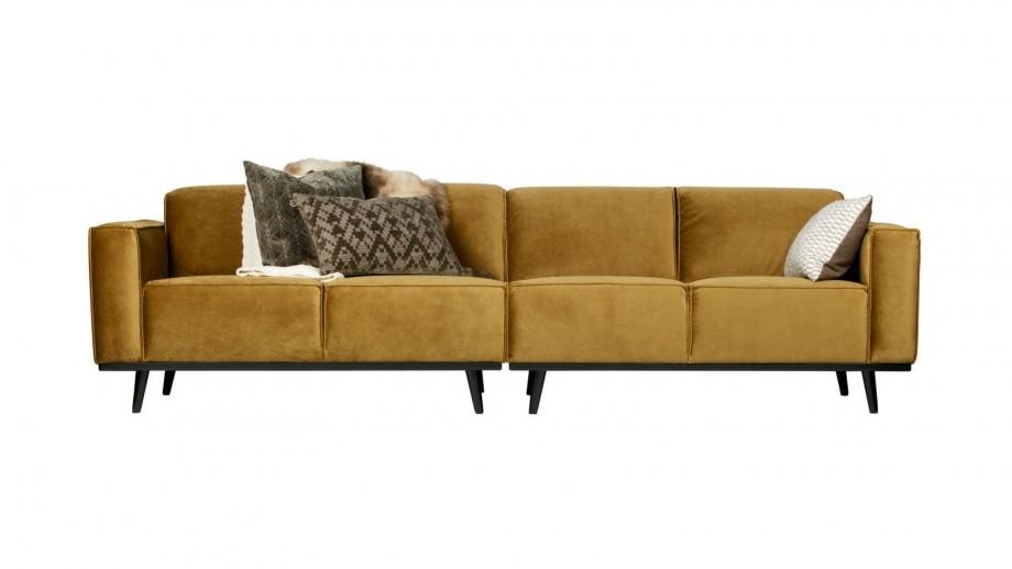 Canapé 280cm en velours jaune miel - Collection Statement - BePureHome