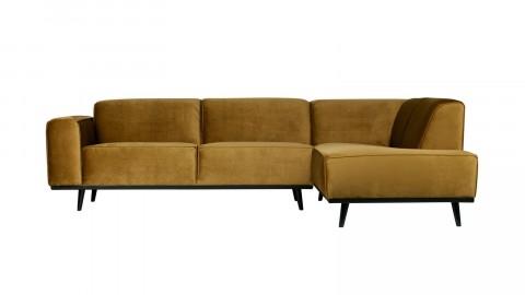 Canapé d'angle droit en velours jaune miel - Collection Statement - BePureHome