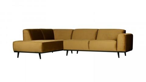 Canapé d'angle gauche en velours jaune miel - Collection Statement - BePureHome