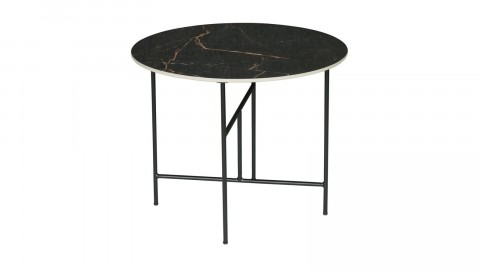 Table basse ronde 48xø80 en marbre noir piètement en métal noir - Collection Vida - Woood
