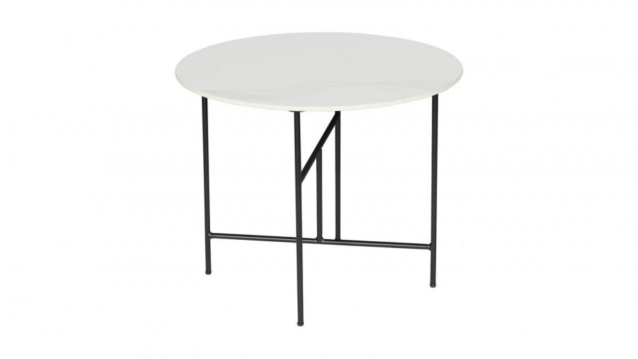 Table basse ronde 48xø80 en marbre blanc piètement en métal noir - Collection Vida - Woood