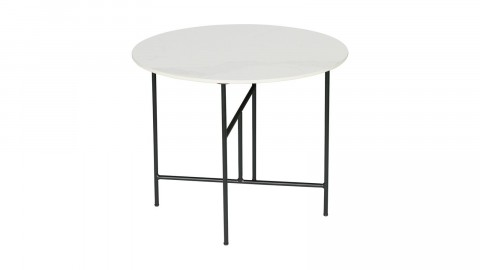 Table basse ronde 48xø80 en marbre blanc piètement en métal noir - Collection Vida - Woood