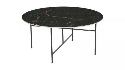 Table basse ronde 40xø80 en marbre noir piètement en métal noir - Collection Vida - Woood