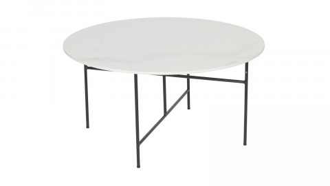 Table basse ronde 40xø80 en marbre blanc piètement en métal noir - Collection Vida - Woood