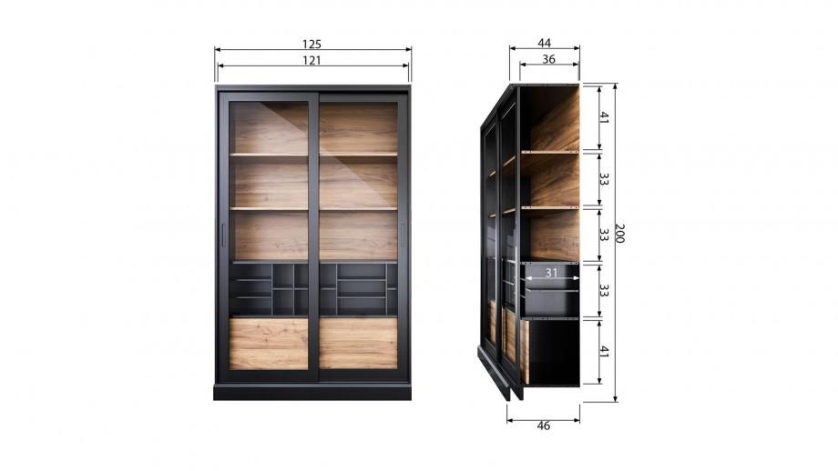 Vitrine 2 portes en bois noir - Collection James - Woood