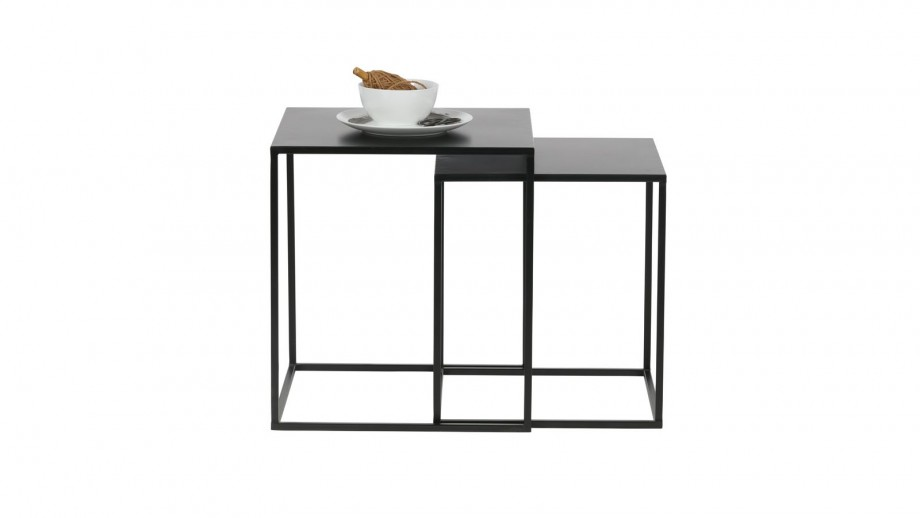 Lot de 2 tables gigognes en métal noir - Collection Ziva - Woood