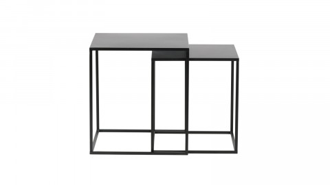 Lot de 2 tables gigognes en métal noir - Collection Ziva - Woood