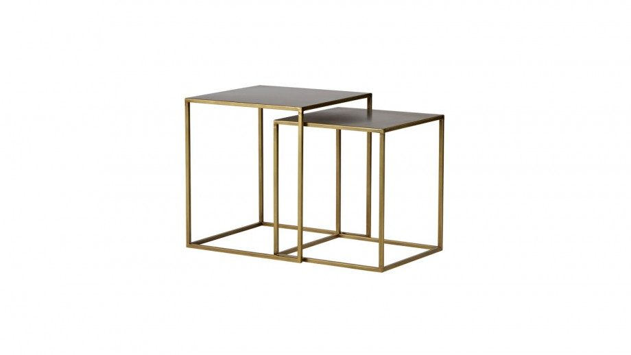 Lot de 2 tables gigognes en métal cuivré - Collection Ziva - Woood