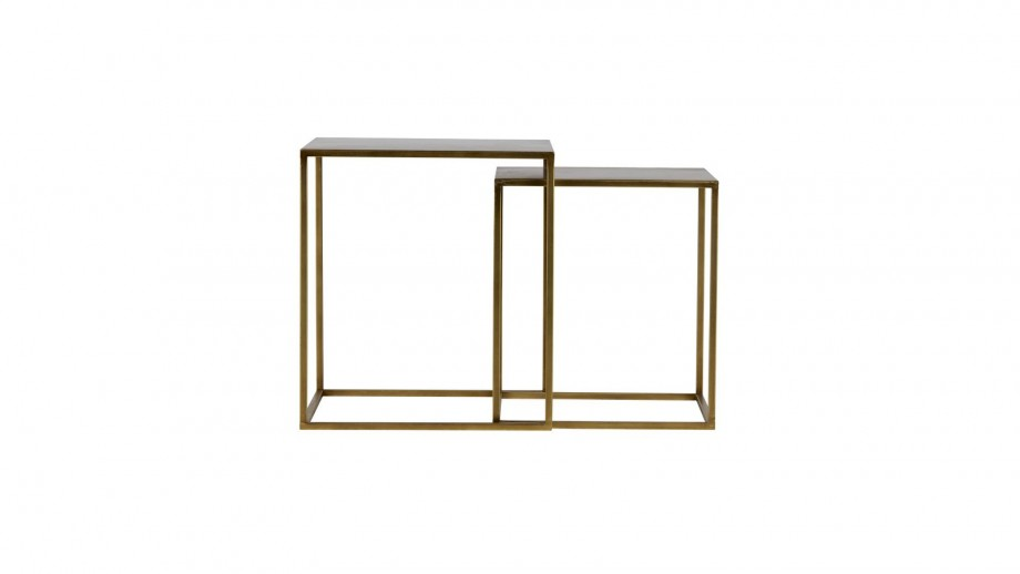 Lot de 2 tables gigognes en métal cuivré - Collection Ziva - Woood
