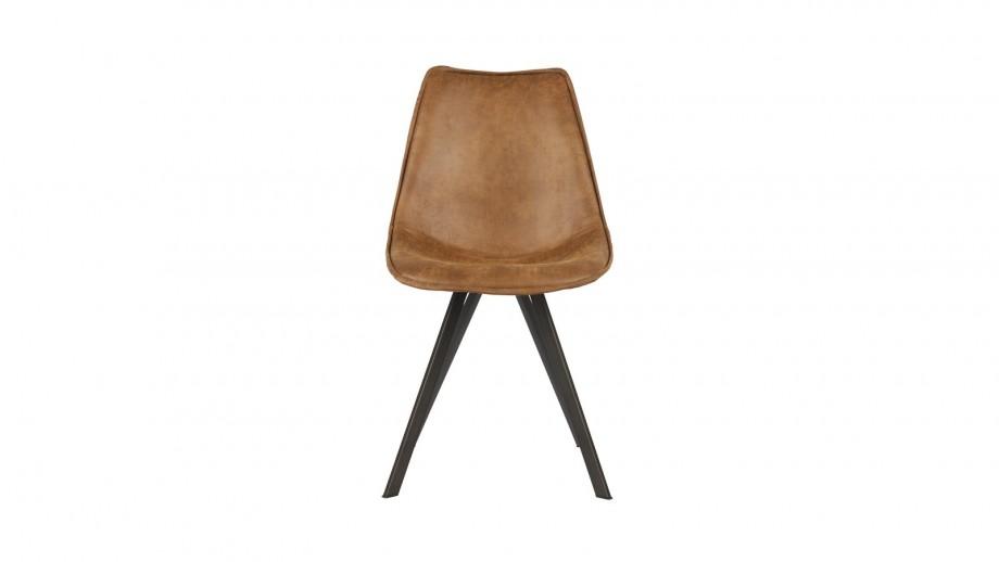 Lot de 2 chaises en simili cuir cognac - Collection Swen - Woood