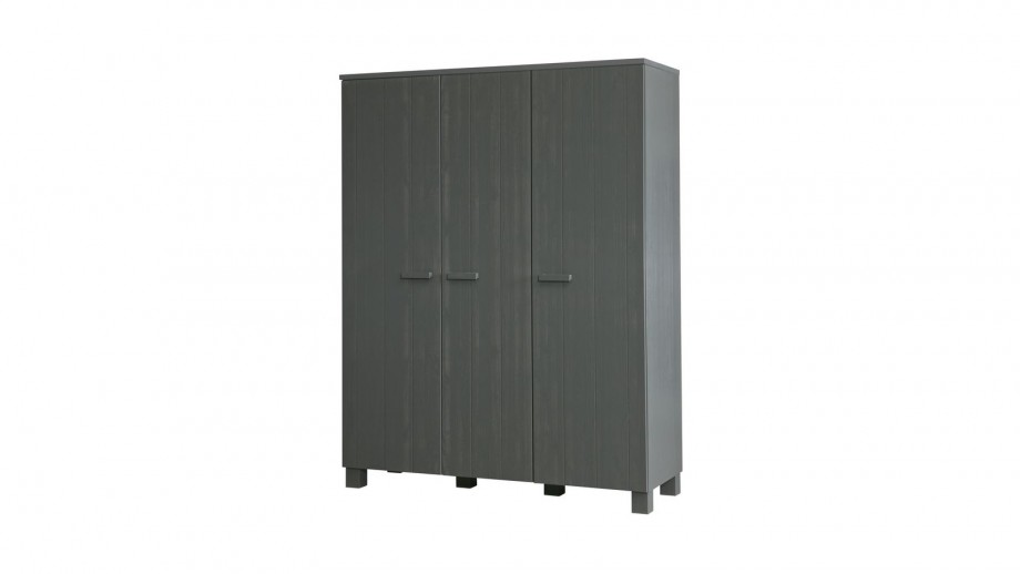 Armoire 3 portes en pin massif gris anthracite - Collection Dennis - Woood