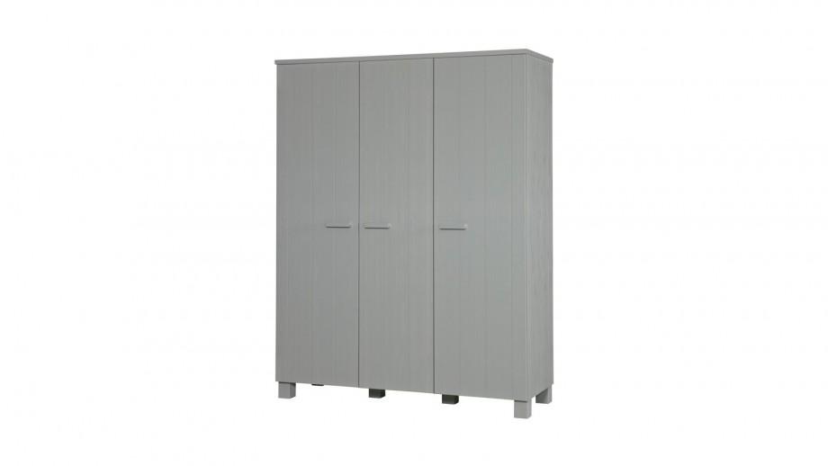 Armoire 3 portes en pin massif gris béton - Collection Dennis - Woood