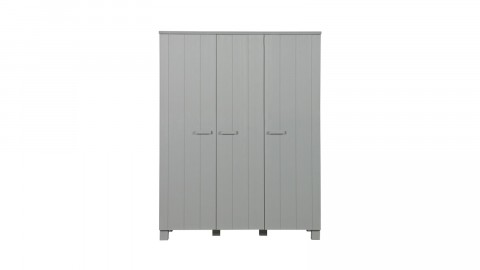 Armoire 3 portes en pin massif gris béton - Collection Dennis - Woood