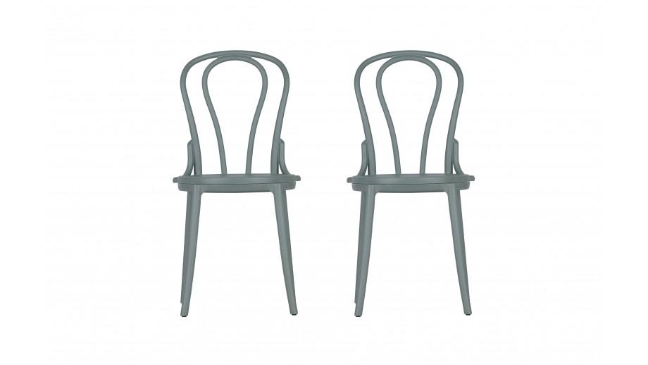 Set de 2 chaises de bistro en platique gris - Collection Bibi