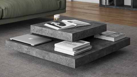 Table basse multi étages effet béton - Collection Slate - Temahome
